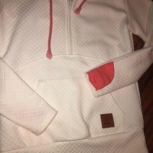 Tops - White & coral half zip